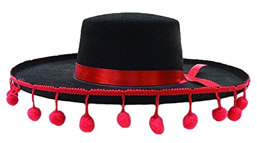 Jacobson Hat Company Men's Felt Spanish Hat W Red Band and Ball Fringe, Black, Adult]()