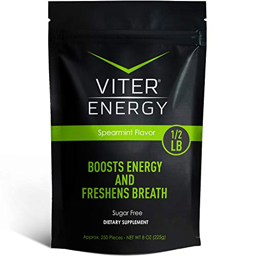 Viter Energy Caffeinated Mints - 40mg Caffeine & B-Vitamins Per Powerful Sugar Free Mint. Boost Energy, Focus & Fresh Breath. 2 Pieces Replace 1 Coffee (Spearmint, 1/2 LB Bulk (Mints Only))
