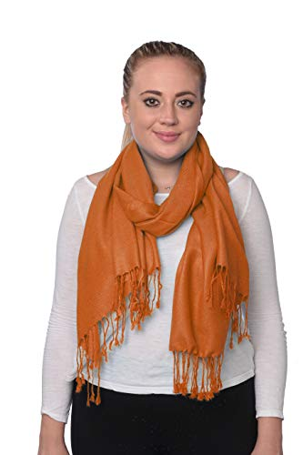 (C-More Elegant Pashmina Silk Blend Soft Wrap Scarf Shawl For Women -30+ Solid Colors (Rust))