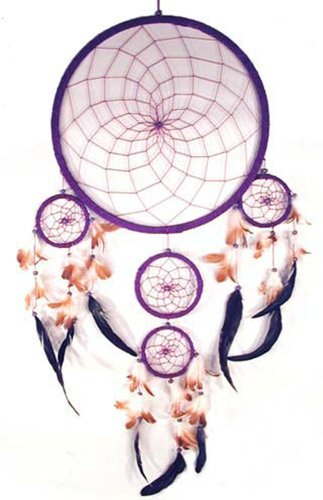 Huge 36 Inch Purple Dream Catcher with Feathers and Beads