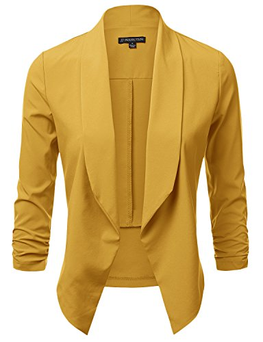 JJ Perfection Women's Lightweight Chiffon Ruched Sleeve Open-Front Blazer Mustard (Mustard Chiffon)