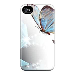 Durable Case For The Iphone 4/4s- Eco-friendly Retail Packaging(blue Rose Butterflies)