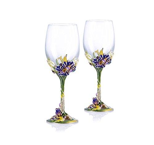 RORO Wedding Gift, Enameled and Jeweled Bohemian Crystal Wine Goblets, Swarovski Decoration, Luxury Home Accessories