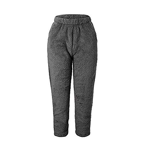 Plush Bootcut Pants - Geetobby Women Plush Fleece Pants Solid Color Winter Warm Loose Trousers Casual