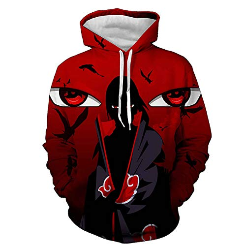 CHENMA Men Naruto 3D Print Pullover Hoodie Sweatshirt With Kangaroo Pocket -