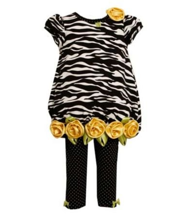 Bonnie Jean Baby/INFANT 12M-24M 2-Piece BLACK WHITE YELLOW ROLLED ROSETTE ZEBRA-PRINT KNIT Girl Party Dress-Tunic and Legging Set