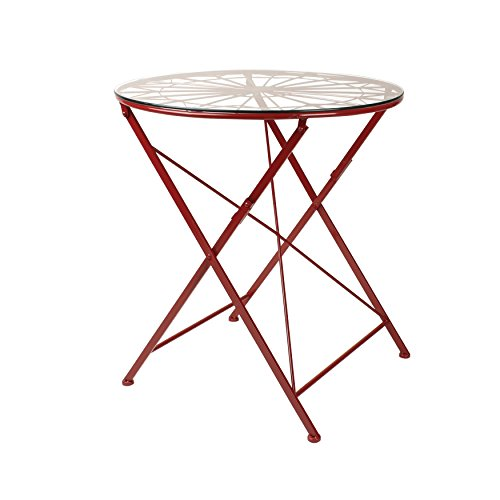 Kate and Laurel Kate & Laurel Thrapston Metal & Glass Round Dining Table, Red