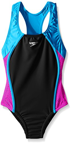 Speedo Big Girls Mesh Splice Thick Strap 1 Piece, Speedo Black, 10 -