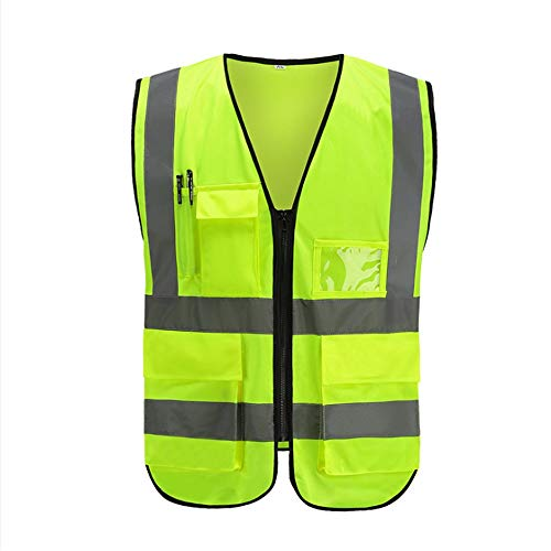 KODH Multi-Pocket Breathable Reflective Vest Vest Fluorescent Work Safety Protective Reflective Vest Road Construction Safety Protective Reflective Vest (Color : Green) ()