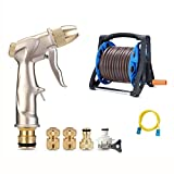 Shuiguan High-Pressure Car Wash Water Gun Set, Water Hose Pipe with Brass Fittings and Storage Rack (Size : 25m)