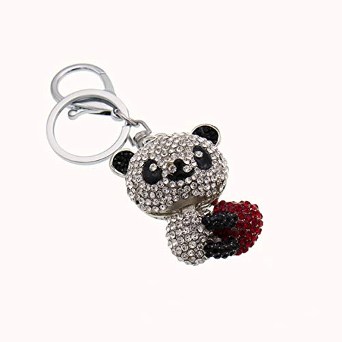 - 1 Pc Panda Bear Crystal White Black Rhinestone Red Heart Keyring Gifts Pendant Women Utility Tool Bottle Opener Key Chain Great Popular Pocket Bag Car Keychains