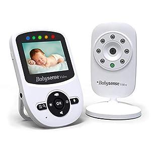 BabySense Moniteur vidéo pour bébé avec caméra, vision nocturne infrarouge, conversation bidirectionnelle, température…