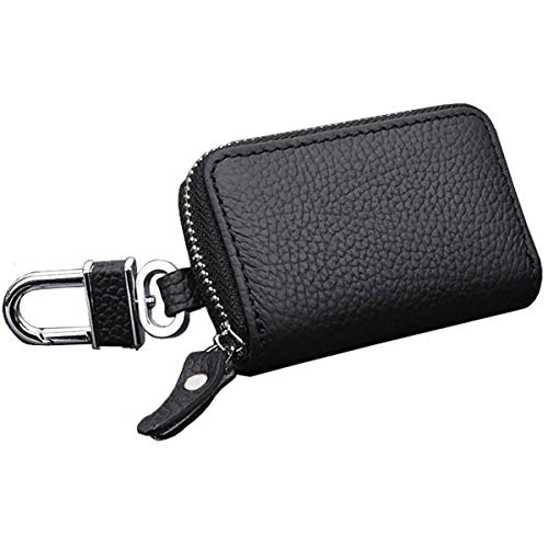 REEGE Car Key Chain Premium Leather Car Key Holder with Zipper for Key FOB(Black)