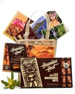 Hawaiian Tote Gift Basket Chocolate Macadamia Candy Assortment