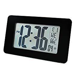 MARATHON CL030041BG Atomic Self-setting Self-adjusting Wall Clock w/ Stand & 8 Timezones - Batteries Included (Black)