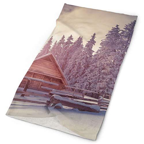 Winter Season Wooden Cabin Original Headband with Multi-Function Sports and Leisure Headwear UV Protection Sports Neck, Sweat-Absorbent Microfiber Running, Yoga, Hiking