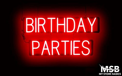 15 x 30in. Birthday Parties Neon Look LED Technology Animated Store Window Sign - Animated Birthday Party