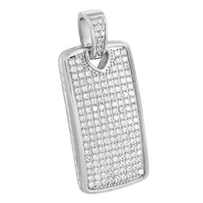Dog Tag Pendant White Gold Over Stainless Steel 316 Lab Diamonds Micro Pave New