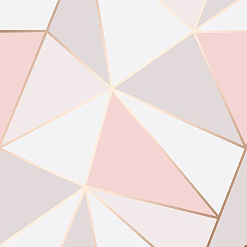 Apex Geometric Wallpaper Rose Gold Fine Decor FD41993 - Fine Decor