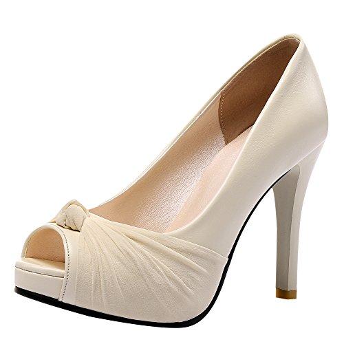 Latasa Womens Peep-toe High Heels Dress Pumps Beige MuyT0