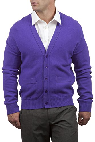 Great and British Knitwear Men's 100% Lambswool V Neck Fitted Cardigan with Pockets-Violetta-Large