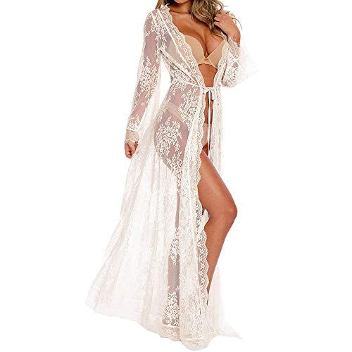 (Women Swimsuit Lace Long Cardigan Beach Wear Cover Up Sexy Loose Swimwear Bikini Lace Floral Long Maxi Beach Dress Plus Size (Lace/White, one Size))