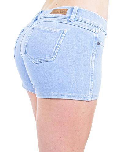 (Basic Booty Shorts Premium Stretch Indigo Denim Gentle Butt Lift Stitching in Ice Size XS)