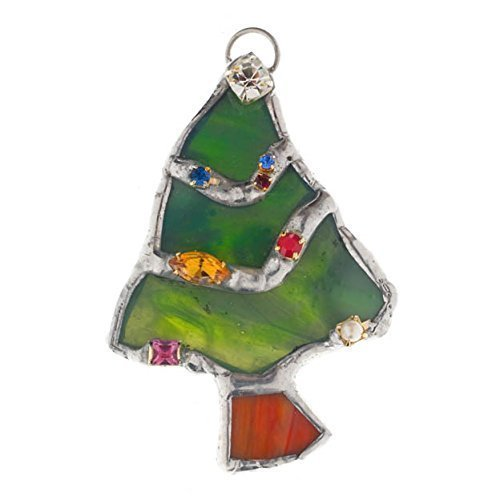 Tree Ornament, Christmas Suncatcher, Christmas Tree, Green Tree, Stained Glass Green Rhinestone