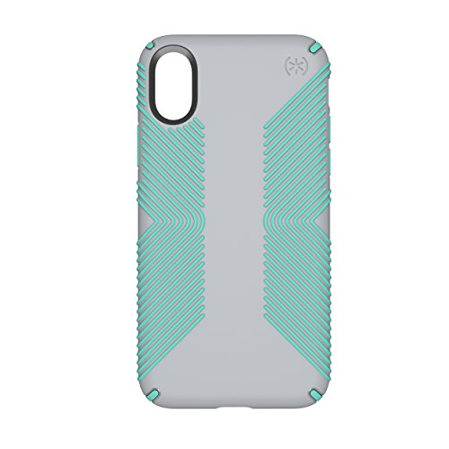 (Speck Products Presidio Grip Case for iPhone XS/iPhone X, Dolphin Grey/Aloe Green)