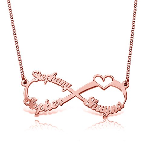 Ouslier 925 Sterling Silver Personalized Infinity Family Name Necklace with Cut-Out Heart Custom Made with 3 Name (Rose - Out Cut Pendant Rose