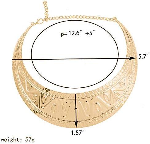 Or Reliablee Grosse Plastron ras du cou Torque Necklaces Ensemble de bijoux pour les femmes et les filles.