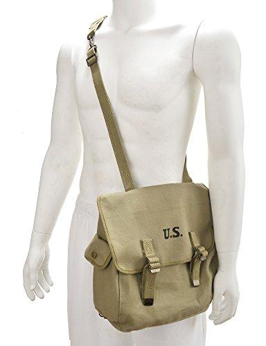 U.S. WW2 Style M1936 Musette Bag with Shoulder strap Lt OD marked JT&L 1943