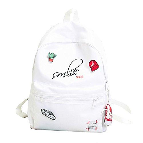 Sacs femmes sac à dos en polyester fermeture éclair pour toute la saison sportif décontracté Noir Blanc