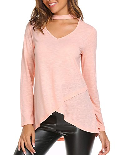 Zeagoo Women's Geometric Straps V Neck Long Sleeve Casual Basic Comfy Top(Pink - Blend V-neck Cotton Geometric