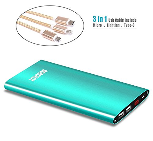 12000mAh around electric power Bank,Aonokoy particularly thin Metal External Battery Pack,2 USB Ports utilizing Premium 3-in 1 USB Charging Cable for Apple iPhone,Samsung Galaxy and more (Green)