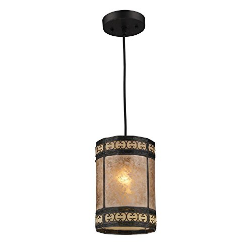 Titan Lighting Mica Filigree 1-Light Tiffany Bronze Ceiling Mount Pendant