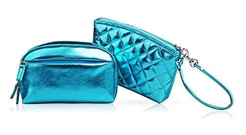 - Itemship Women Cosmetic Bags and Hand Bags Fluorspar Color Series Small Size Two-piece Female Makeup Bags (Blue)
