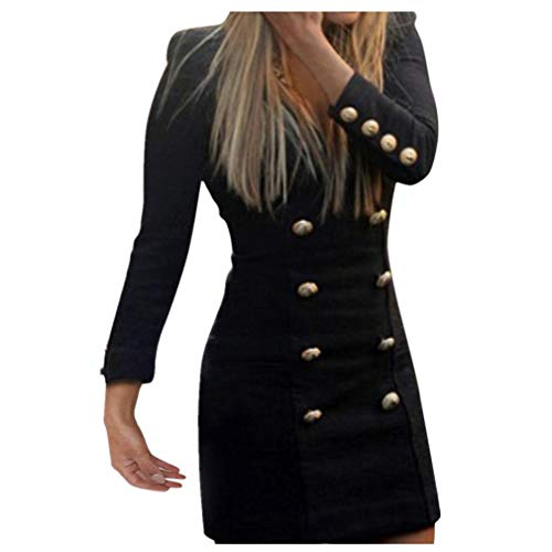 TWGONE New Women Slim Long Sleeve Buttons Casual Bodycon Cocktail Mini Dress(Medium,Black) by TWGONE (Image #4)