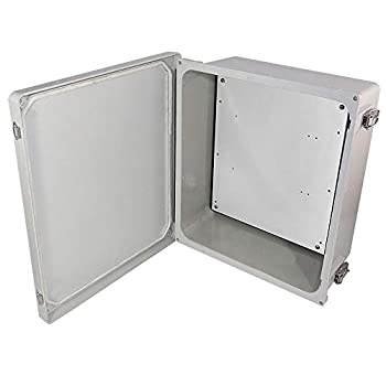 Image of Home Improvements Altelix 14x12x6 NEMA 4x FRP Fiberglass Weatherproof Enclosure with Aluminum Equipment Mounting Plate, Hinged Lid & Stainless Steel Latches