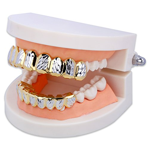 18K Gold Plated Hip Hop Diamond Cut Rugged 8 Teeth TOP and Bottom Grillz Set (Gold&Silver)