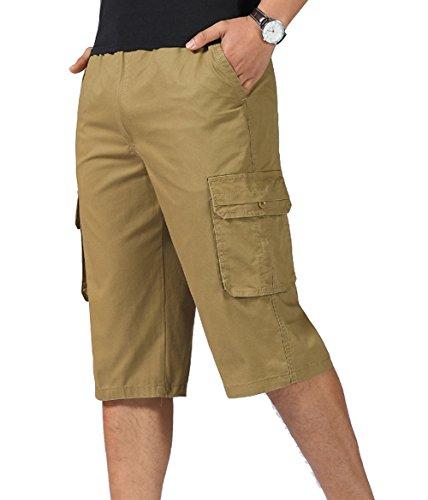 YangguTown YGT Mens Capri Cotton Full Elastic Wait Cargo Shorts Ligtwight Sports Pants