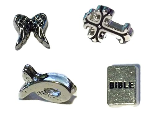 Floating Charms - Religious Four Pack - Angel Wings, Bible, Ornate Cross, and Jesus Fish - Floating Locket Charms for Glass Lockets - Old School Geekery High Quality Charms