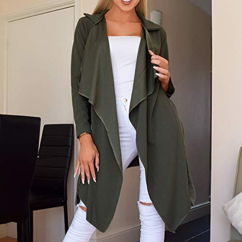 juqilu Assymetric avec Trench Veste S Coat Cardigan Femmes 2XL Revers Casual Coupe Vert Ceinture Vent Coat Loose Automne rnCqrHR
