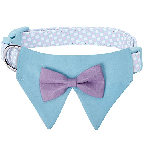 - Blueberry Pet 5 Patterns Sophisticated Pastel Blue Checker Dog Bandana Collar with Bow Tie, Medium, Neck 14.5