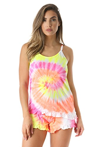 Just Love 6337-10108-3X Women Sleepwear Short Sets Woman Pajamas,Tie Dye Tornado,3X Plus