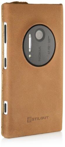 StilGut, UltraSlim, funda de cuero genuino para Nokia Lumia 1020, negro Old style marrón