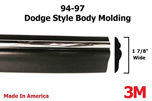 1994-1997 Dodge Ram Black/Chrome Side Body Trim Molding Pickup Truck (72' Roll) - 1 7/8' Wide - 1995 1996 94 95 96 97 Automotive Authority