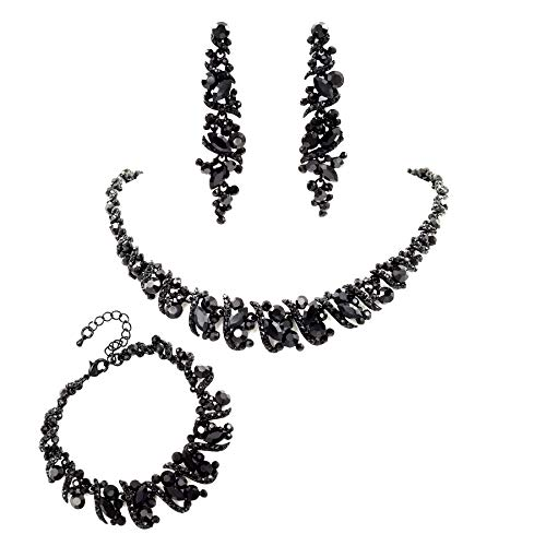 Iris Island Women Black Jet Austrian Crystal Rhinestone Necklace Earrings Bracelet Jewelry Set for Prom Black Rhinestone Jewelry Set