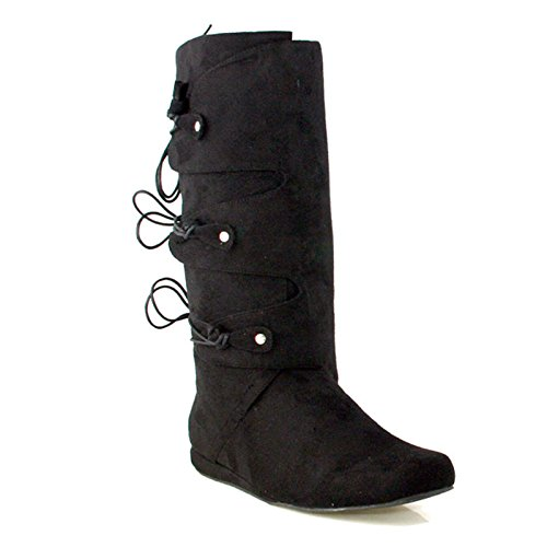 Suede Renaissance Boot Costumes - Ellie Shoes - Thomas (Black) Adult