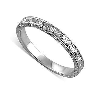 Amazon.com: 14K White Gold Art Deco Style Engraved Wedding